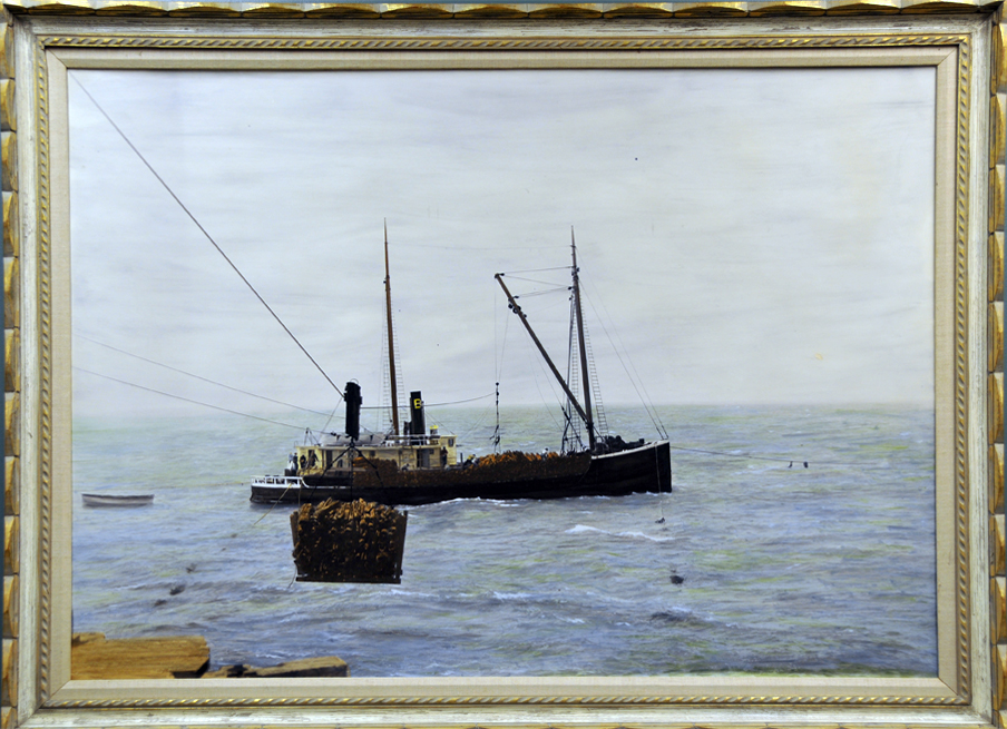 Loading Tanbark on a Ship from the Mattole Wharf by Swanlund-Baker