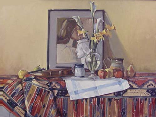 Still Life with Portrait, Flowers, Pitcher, Fruit by George Van Hook