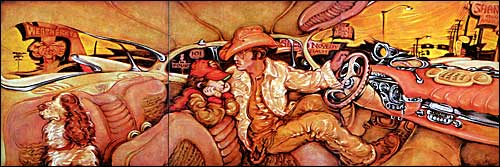 Portrait of Bill McWhorter in Convertible with Boy and Dog by Martin Wong