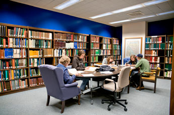 One of the library study rooms