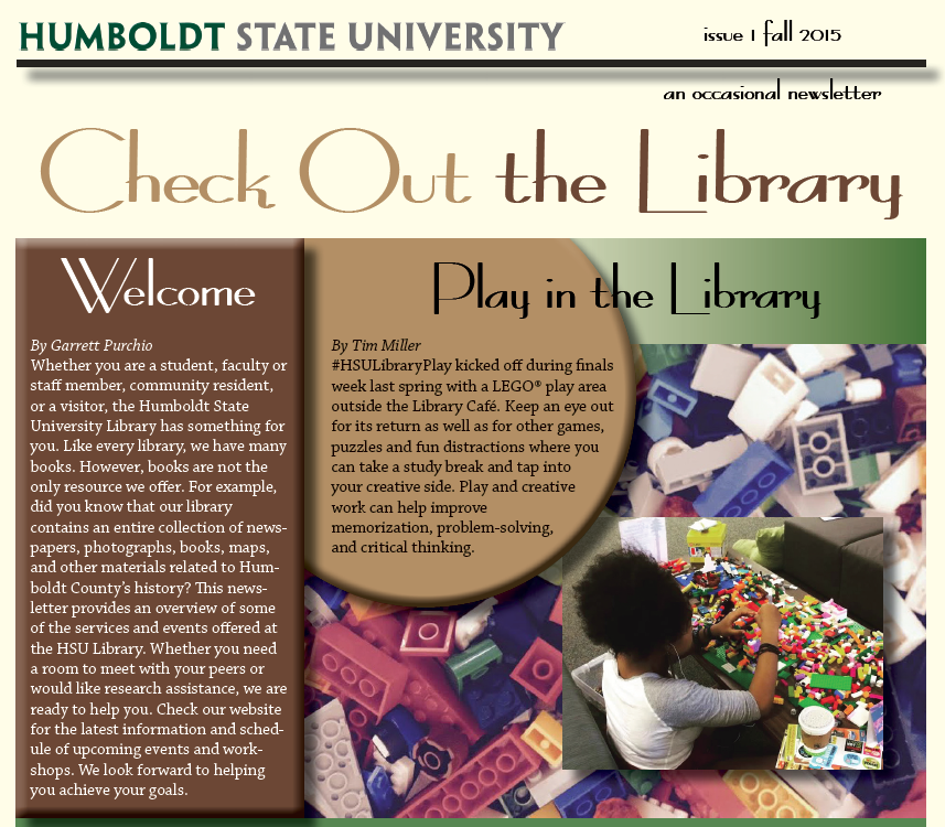 HSU Library Newsletter Fall 2015
