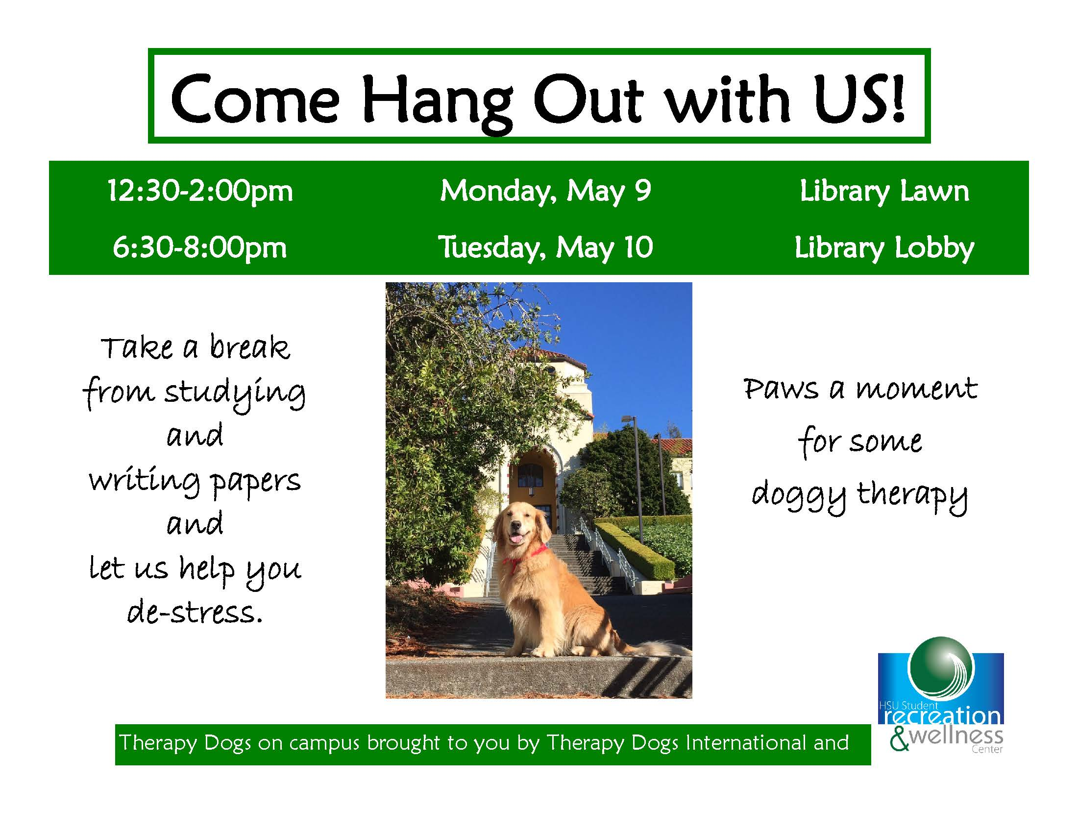 Come Hang Out with Us Therapy dogs in the library