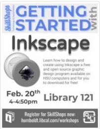 Getting Started with Inkscape February 20th 4-4:50pm in Library 121