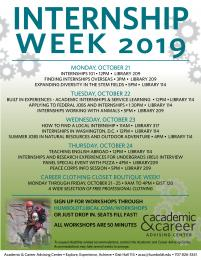 flyer for Internship week 2019 from ACAC