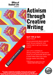 flyer for Activism through Creative Writing