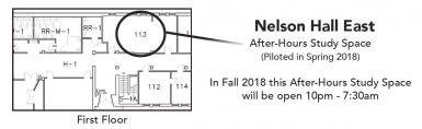 map of after hours study space in NHE 113