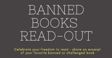 Banned books read-out Tuesday, September 24 5-7pm library front stairs