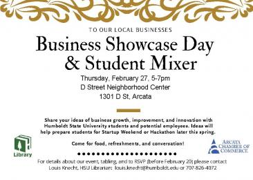 Flyer for Business Showcase Day & Student Mixer
