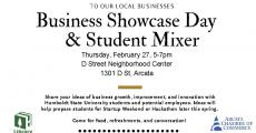 To our local business - Business Showcase Day & Student Mixer flyer with time and address and short description plus graphics