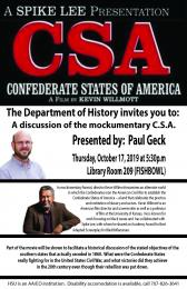 flyer for CSA, Confederate States of America film showing and discussion