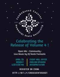 flyer for Vol 4 release of Courageous Cuentos