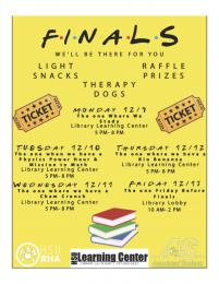flyer for Learning Center pre-finals week