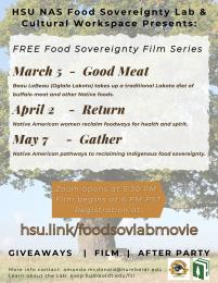 flyer for spring Food Sovereignty Film Series