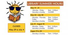 Library Summer Hours May 15-August 20, 2017