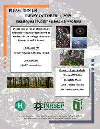 flyer for Friday October 4, 2019, INRSEP/CNRS Student Research Symposium