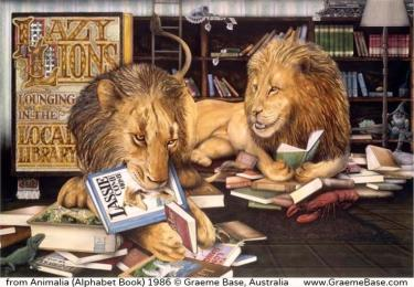 Lazy lions in the library