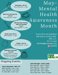 Mental Health Awareness flyer with listing of events