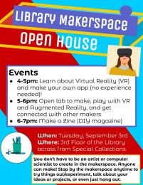 flyer for Library Makerspace Open House 9/3 4-7pm