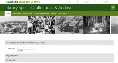 screenshot of new Special Collections website