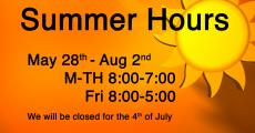 Summer Hours May 28th-August 2nd