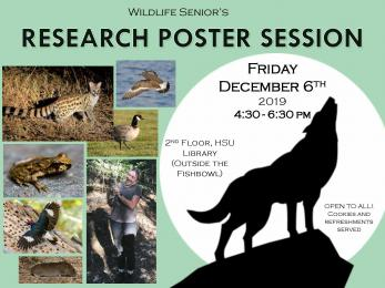 Wildlife Senior's Research Poster Session Friday December 6th 2019 4:30-6:30pm 2nd floor HSU Library (outside the fishbowl) open to all! Cookies and refreshments served