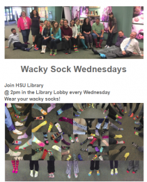 Wacky Sock Wednesdays @ 2pm in Library Lobby