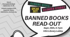 Banned Books Read-out Sept. 26 5-7pm, Library Lobby