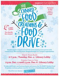 Canned Food Creations & Food Drive flyer