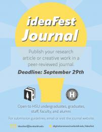 ideaFest Journal - publish your research article or creative work in a peer-reviewed journal Deadline: September 29th