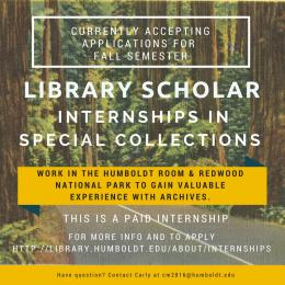 Library Scholar Internship for Special Collections
