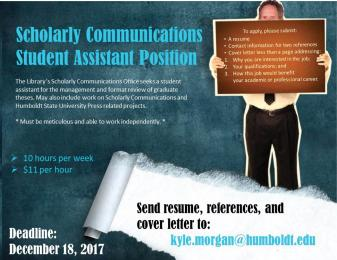 Scholarly Communications Student Assistant Position available