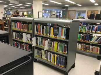 photo of reserves shelves in library
