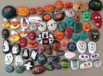 67 rocks painted with Halloween themes